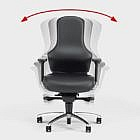 3-D-Bürostuhl Ego, Leder, schwarz, Hartboden-Rollen