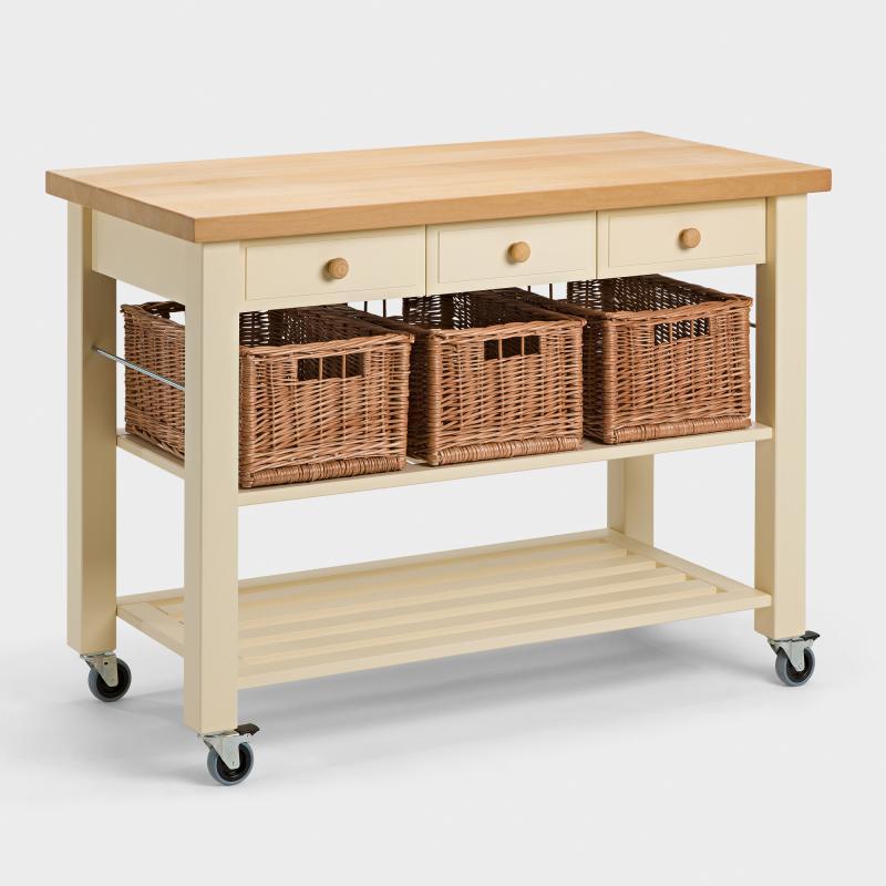 Küchenwagen mit 3 Weidenkörben aus Buchen-Holz - Biber.ch | {Küchenwagen schmal 4}