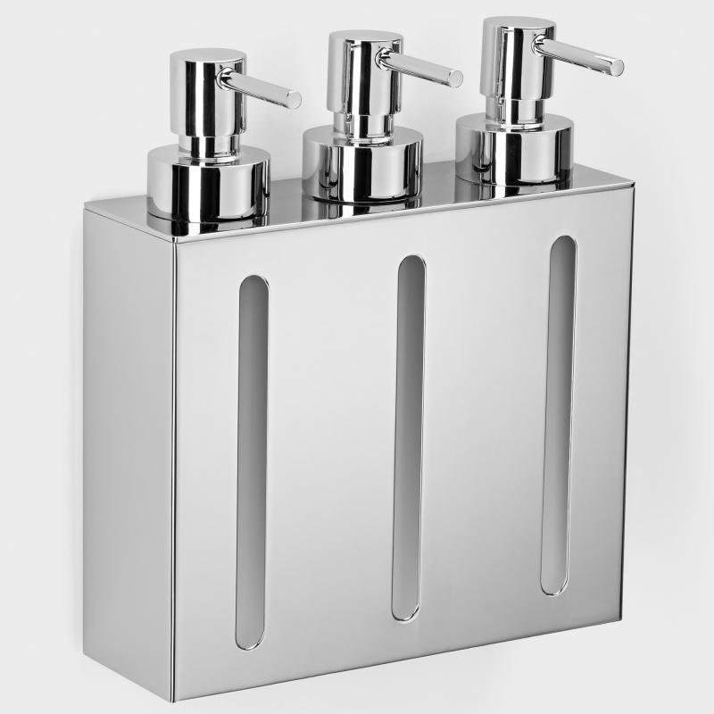 Seifenspender Dusche Edelstahl : : Seifenspender mit 3 Kammern, Edelstahl online bestellen
