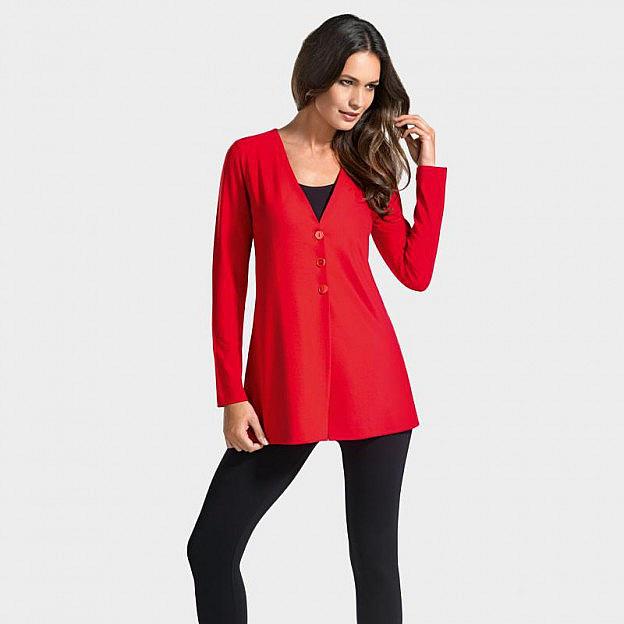 Blazer mit V-Ausschnitt Viskose, rot