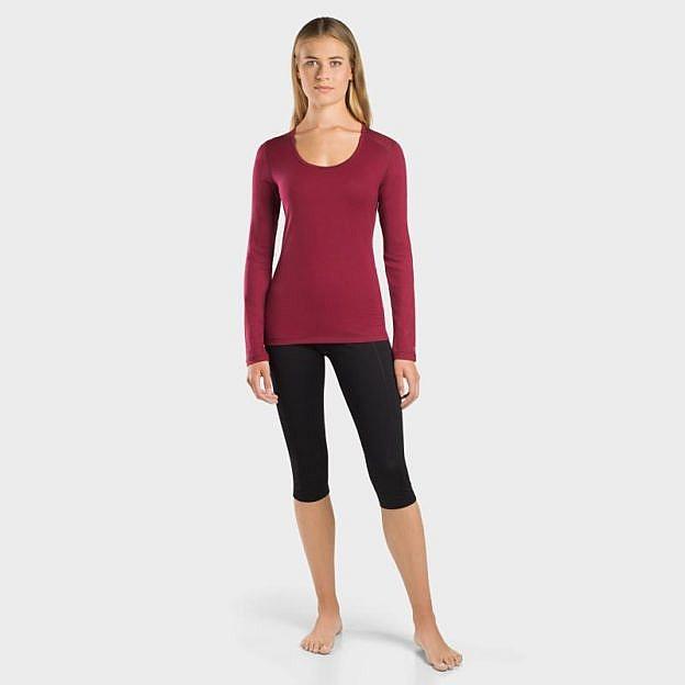 Damen-Funktions-Shirt langarm, bordeaux