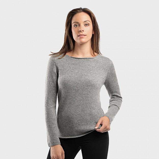 Damenpullover Kaschmir, grau meliert