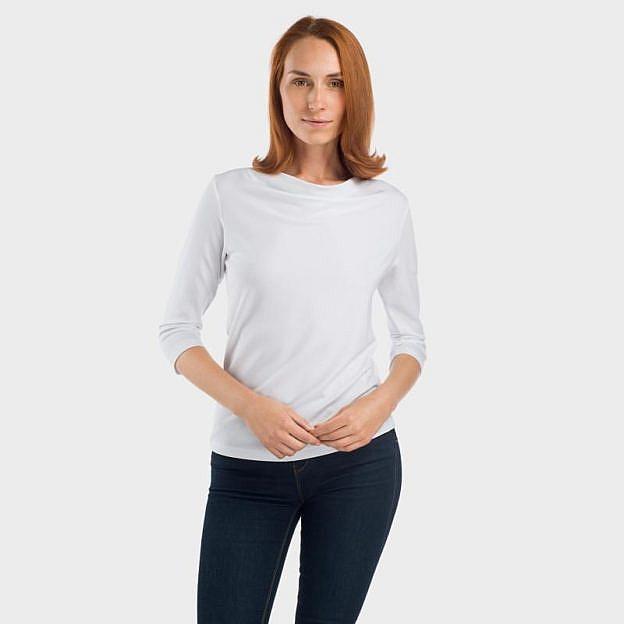 Shirt mit Wasserfallausschnitt Viskose, weiss