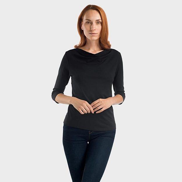 Shirt mit Wasserfallausschnitt Viskose, schwarz