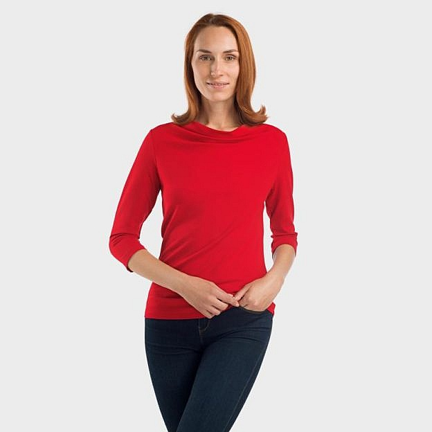 Shirt mit Wasserfallausschnitt Viskose, rot