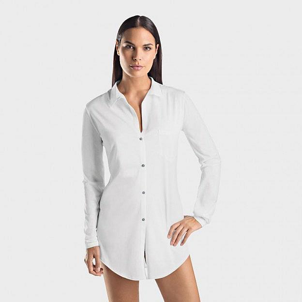 Hanro-Damenschlafhemd mit Knopfleiste, weiss