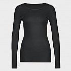 Hanro-Damenshirt, langarm, Sea Island, schwarz