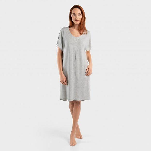 Damenschlafkleid kurzarm Viskose, silbergrau