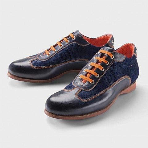 Herren-Sneaker, Leder rahmengenäht, blau