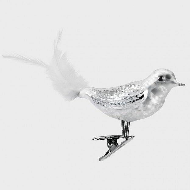 Lauschaer Glasvogel eisweiss, 3er-Set