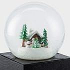 Schneekugel Waldhütte Glas, Esche