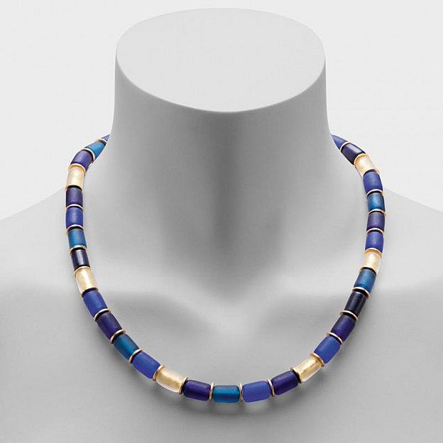 Collier Muranoglas zylindrisch, königsblau