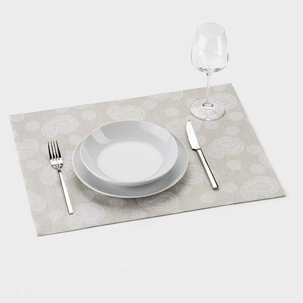 Tischset Paisley Halbleinen, natur, 2er-Set