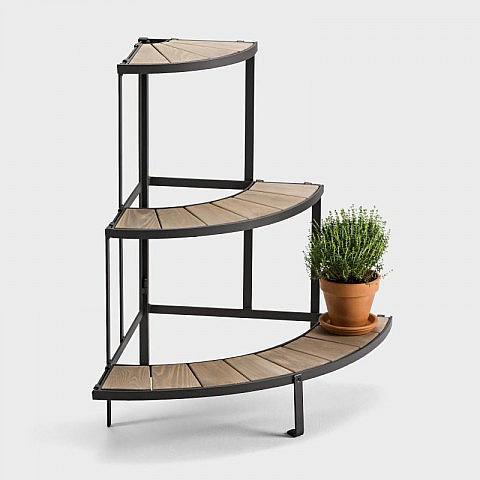 faltbares blumen eckregal stahl holz. Black Bedroom Furniture Sets. Home Design Ideas