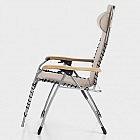 Komfortliegestuhl Aluminium mit Eschenholz-Armlehnen, natur