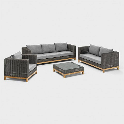 lounge gartensofa 2 sitzer aluminium geflecht teak. Black Bedroom Furniture Sets. Home Design Ideas